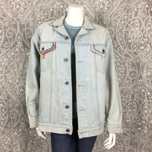 Hand Beaded Vintage Jean Jacket- XL
